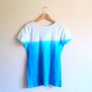 Tie Dye Ombre Blue T-Shirt Women Beachwear Hand Painted Pocket Blouse Shibori Art Festival Top Dip Dye Yoga Workout Fitness Running Top