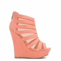 Mesh Inset Laddered Wedges - GoJane.com