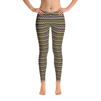 Africa Leggings for Women - Stylish Durable Novelty Leggings - Cut, Sewn, and Printed in California - Model 29041