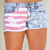 American Flag Denim Shorts