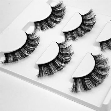 3pcs/lot 100% handmade real mink fur false eyelash 3D strip mink lashes thick fake faux eyelashes Makeup beauty False Eyelashes
