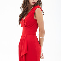 FOREVER 21 Pleated Woven Dress Red Large