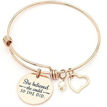 Stainless Steel Inspirational Encouragement Bracelet She Believed She Could So She Did