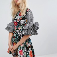 House Of Holland Satin Floral and Ginham Flared Sleeve Dress at asos.com