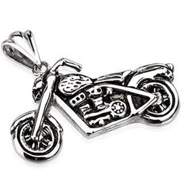 Highway Star – Detailed, oxidized silver stainless steel motorcycle pendant