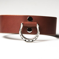 Leather Bondage Collar - Chestnut Brown Latigo - Steel Lead Ring -  Feather Motif