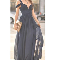 FASHION CUTE CHIFFON LONG DRESS