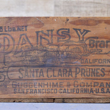 Vintage Wood PANSY BRAND Crate, Small Wooden Crate, Wood Box, San Francisco Crate, Wood Fruit Crate