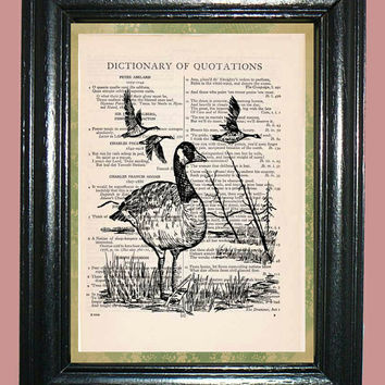 Geese in Marsh Reeds Quotation Dictionary Book Page Art Upcycled Page Art Print Home Decor