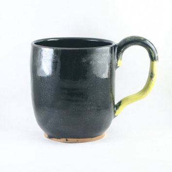 Huge 18 oz ounce Black Tea Cup / Unique pottery Mug with Yellow handle, Wheel Thrown Pottery ceramic stoneware
