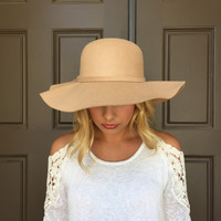 Lenard Wool-Like Brim Hat In Natural