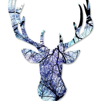 Modern wall art: fine art photography, geometric art deer antlers head, office decor tree photograph black white turquoise purple aqua blue
