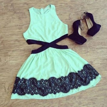Women Clothing Black Mint Green mini Contrast Lace Geometric Dress = 5617084481