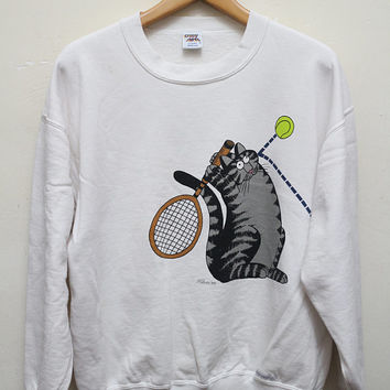 Vintage KLIBAN B.Kliban Cat Playing Tennis Crazy Shirt Pullover Sweater Sweatshirt White Size M