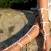 Cotton Beach Holiday Crochet Dance Accessories Anklet B0015123