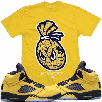 Jordan Retro 5 Michigan Inspire Match Sneaker Tees Shirts - MONEY BAG