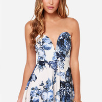 All Good Things Strapless Blue and Ivory Floral Print Dress