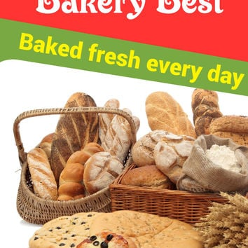 "Bakery Best Baked Fresh Business Retail Display Sign, 18""w x 24""h, Full Color"
