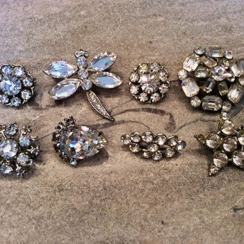 Vintage Rhinestone Brooches, Scatterpins, Brooch Bouquet, Wedding Pins,  Set of 8,  Rhinestone Jewelry