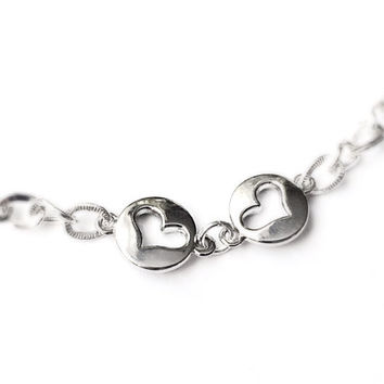 Heart Anklet - Silver Anklet - Gift for Mom - Simple Metal Anklet - Valentines Day Jewlery - Sister Gift - Heart Love Anklet - Wife Gift