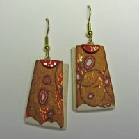 Trapazoid 3D Art Earrings in Red, Gold and Ecru Crazy Stripe
