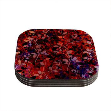 "Ebi Emporium ""Amongst the Flowers - Summer Nights"" Red Black Coasters (Set of 4)"