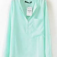 Green Collarless Long Sleeve Dipped Hem Blouse Shirt