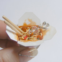 Chinese Take Out Necklace Miniature Food Pendant - Miniature Food Jewelry