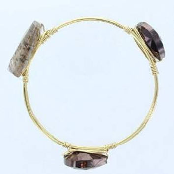 "Womens Gold Wire Bangle with a Smoky Glass Beads, Size Medium, 2.5"" Diameter"