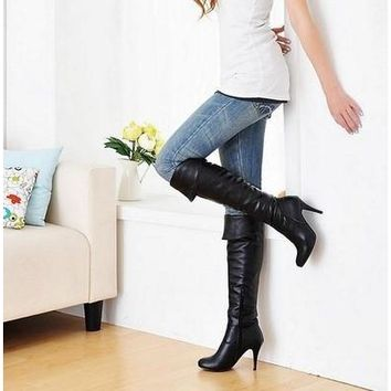 2015 Fashion women high heels knee boots leather brand designer sexy boots [8238485767]