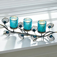 Peacock Feather Plumes Turquoise Blue Candle Holder Trio