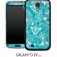 Turquoise Pattern Skin for the Samsung Galaxy S4, S3, S2, Galaxy Note 1 or 2