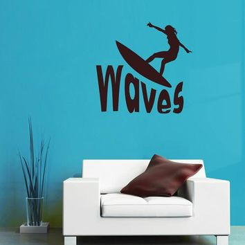 ik2589 Wall Decal Sticker wave surfing board sports shop stained living room