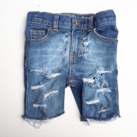 Cut Off Skinny shorts- Size 6months- kids size 12 boys jeans denim distressed jeans baby toddler clothes ripped jeans  infa