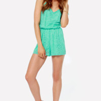 LULUS Exclusive Where You Are Turquoise Lace Romper