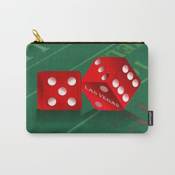 Craps Table & Red Las Vegas Dice Carry-All Pouch by gx9designs