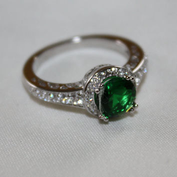 Filigree Emerald Quartz  Ring Sterling White Topaz Jewelry Vintage Promise Engagement Ring