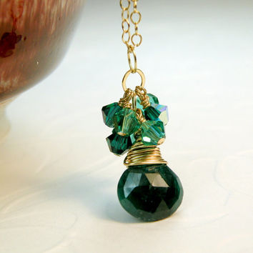 Emerald Necklace, Green Gemstone Jewelry, Emerald Gold Filled Necklace, May Birthday, Green Birthstone, Ready To Ship, Natural Emerald
