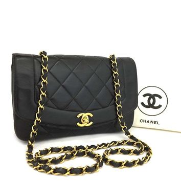 CHANEL Quilted Matelasse Diana 22 CC Logo Lambskin Chain Shoulder Bag /k131