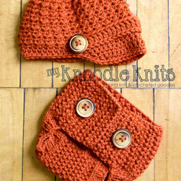 Newsboy Hat and Diaper Cover Set a cute Newborn by knoodleknits