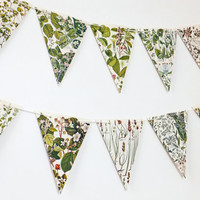 Botanical Bunting, recycled Garland, eco-friendly banner, upcycled bunting, wedding decor, Wedding Pennants