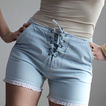 Blue denim lace up shorts