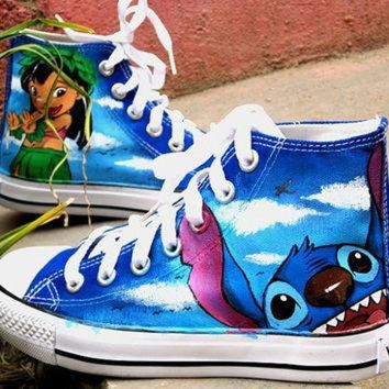 DCCKHD9 Stitch anime Lilo Stitch shoes custom converse shoes Lilo & Stitch Hand Painted Conver