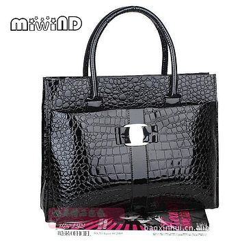 Briefcase female crocodile pattern handbag mother bag women handbags alligator bags totes bag