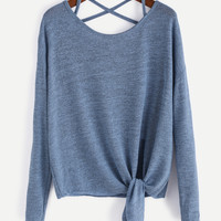 Blue Drop Shoulder Criss Cross Tie Front T-Shirt -SheIn(Sheinside)