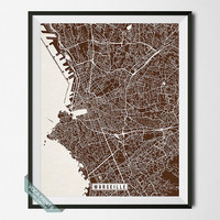 Marseille Print, France Poster, Marseille Poster, Marseille Map, France Print, Street Map, France Map, Room Decor, Wall Art