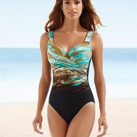 Multicolor Printed One-piece Swimsuits High Cut Bathing Suit