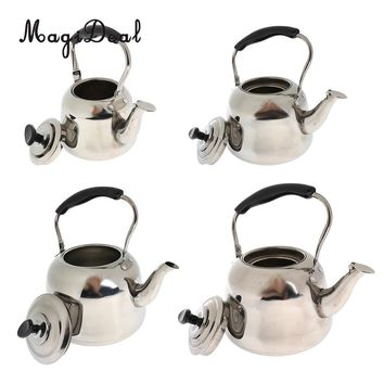 Whistling Kettle Stainless Steel Camping Kitchen Tea Coffee Water Pot 1L - 4L