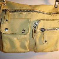 FOSSIL SUTTER Yellow Leather Crossbody Purse shoulder bag Vintage