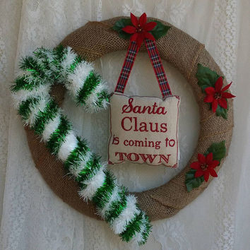 Christmas Wreath, Santa Claus is Coming to Town, Simple Country Christmas Burlap Wreath, Affordable Christmas Decor, Country Holiday Gift